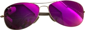 Ray-Ban Gold aviators with hot pink lenses