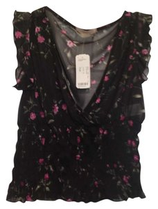 Forever 21 Sheer Floral V-neck Date Night Night Out Casual Top Black floral