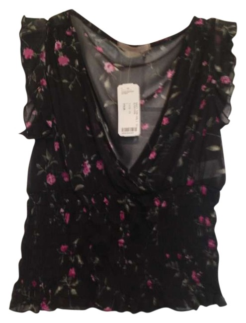 Forever 21 Sheer V-neck Date Night Night Out Casual Top Black floral