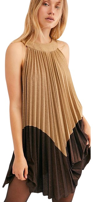 Item - Gold Brown Pleated Love Mini Short Cocktail Dress Size 8 (M)