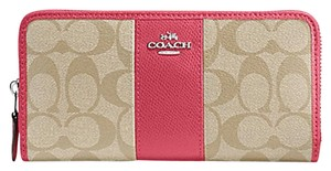 Coach ZIP WALLET IN SIGNATURE COATED CANVAS WITH LEATHER STRIPE