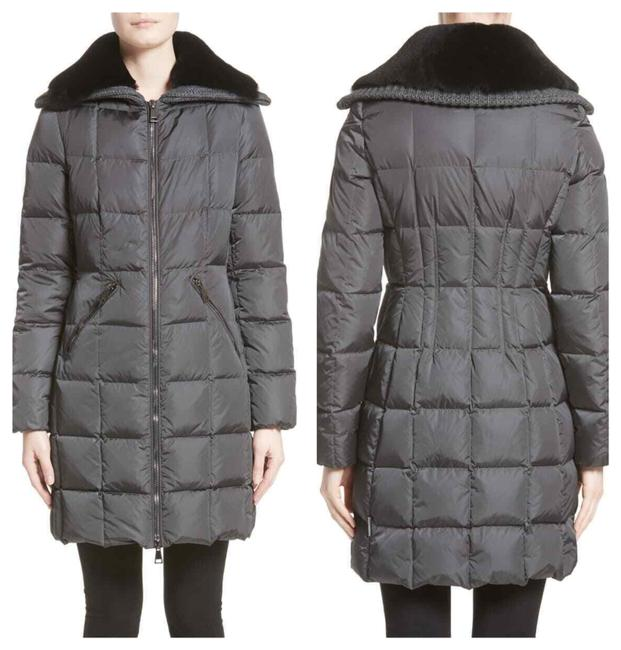 Item - Gray Quilted Down with Removable Genuine Lamb Fur Collar Coat Size 4 (S)