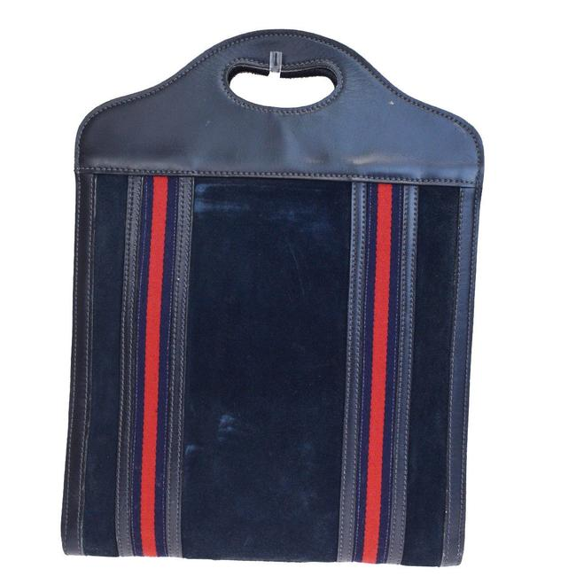 Item - W Vintage Suede/Leather Top Handle Punch Hole Blue/Red/Navy Sherry Stripes Suede & Leather Tote