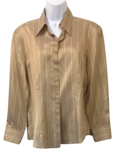 Armani Collezioni Button Down Shirt Golden Brown/ White