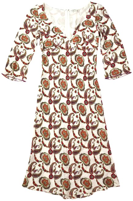 Item - Beige Red Paisley Print Silk Long Sleeve Knee Length Mid-length Work/Office Dress Size 6 (S)