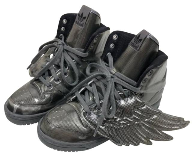 Item - Gray Silver Jeremy Scott Wing Metallic Woman Unique Rare Sneakers Size US 7 Regular (M, B)