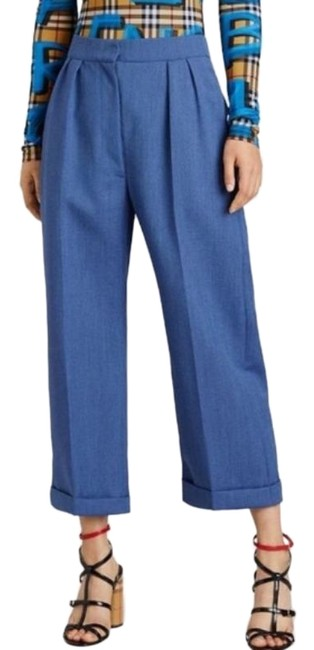 Item - Blue Wool Mohair Cropped Tailored Woman New Pants Size 0 (XS, 25)
