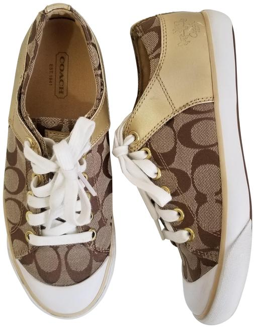 Item - Tan and Gold Bobbey Sneakers Size US 6.5 Regular (M, B)