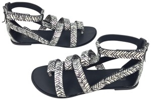 JOE'S Jeans Tribal Gladiator Leather Flats Black/White Sandals