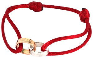 Cartier Love 18k Rose & White Gold Mini Ring Charms Red Cord Bracelet