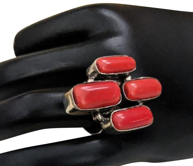 Item - Red Unique Silver Coral Ring