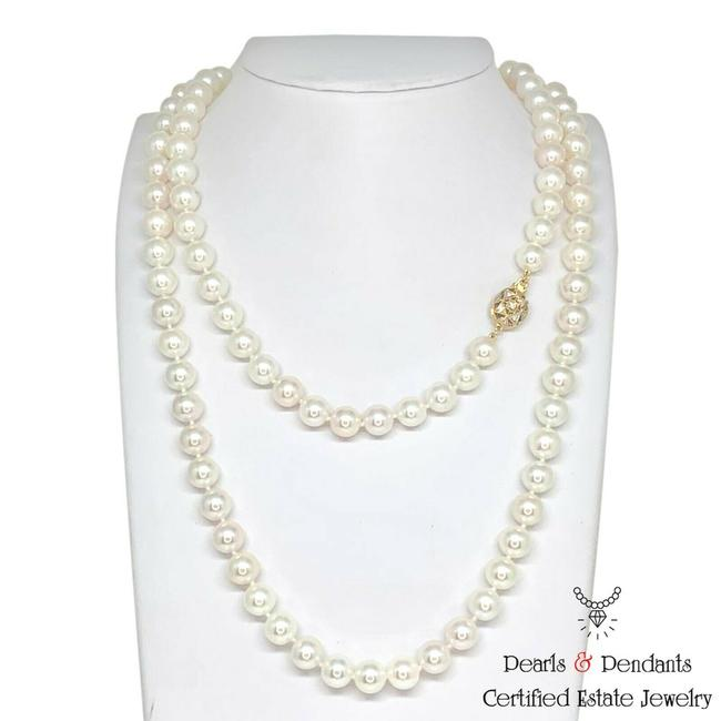Item - White Diamond Akoya Pearl 14k Gold 8.5 Mm 36 In Certified 010932 Necklace