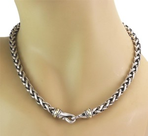 David Yurman Sterling Silver & 14k Gold 6mm Woven Link Chain Necklace
