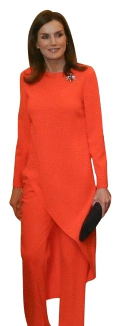 Item - Orange Red Long Asymmetric Blouse Size 4 (S)