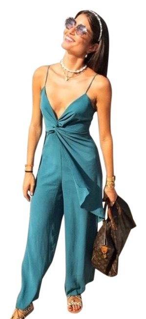 Item - Green Strappy with Knot Romper/Jumpsuit