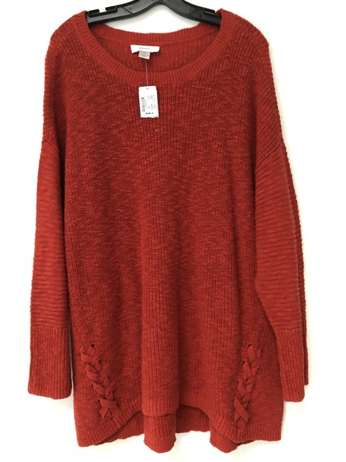 Item - Cozy Knit Cotton Orange Hi 2x Burnt Sweater