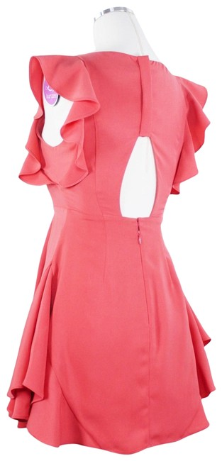 Item - Coral Ruffle Tiered Back Cutout Fit Flare Skater Flutter Sleeves Short Cocktail Dress Size 2 (XS)