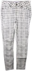Paige Verdugo Ankle Gary & White Gingham Print Capri/Cropped Pants Multicolor