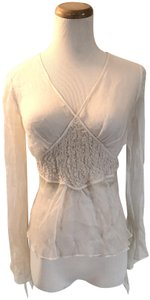 Max Studio Silk Sheer Top Ivory