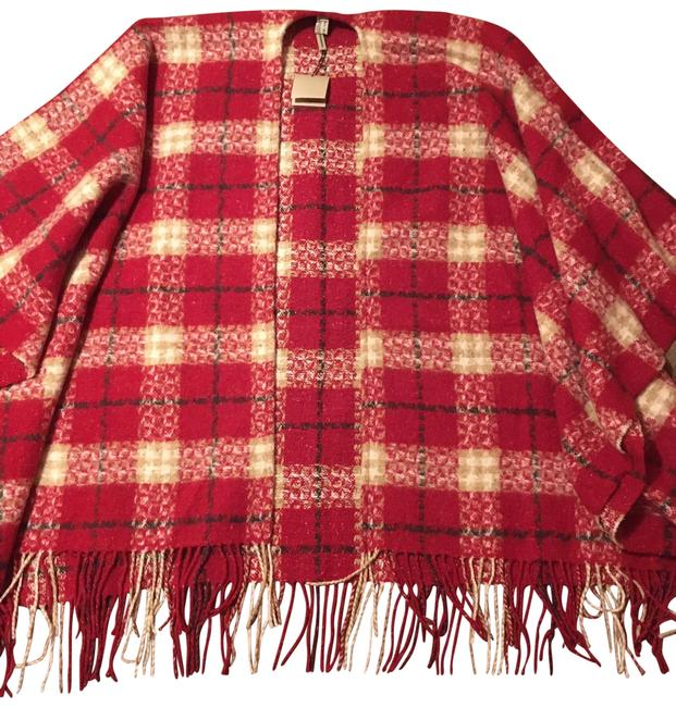 Item - Red Check Fringe-trim Poncho/Cape Size OS (one size)
