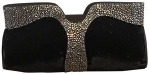 Christian Louboutin Velvet Satin Crystal Black Clutch