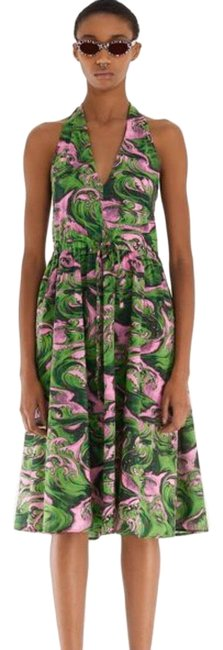 Item - Green / Pink Wave Print Halter Mid-length Casual Maxi Dress Size 6 (S)