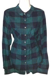 Ambiance Flannel Button Down Shirt Green & Blue