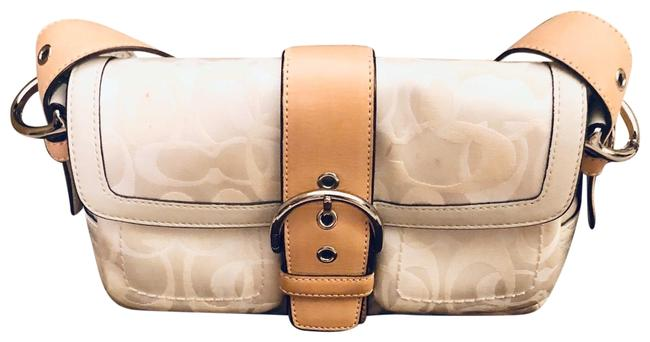 Item - Purse White Canvas and Leather Satchel