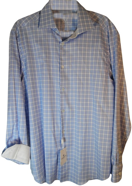 Item - Blue & White Men's Classic Fit Long Sleeve Collared Shirt Button-down Top Size 14 (L)