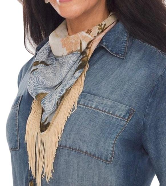 Item - Brown/Pink Floral Fringe Neckerchief Scarf/Wrap