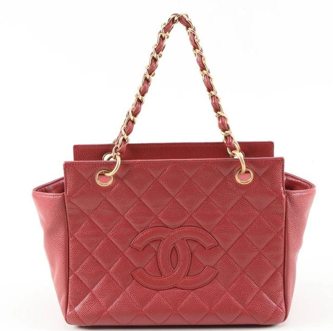Item - Timeless Petite Quilted Deep Rose Red Caviar Leather Tote