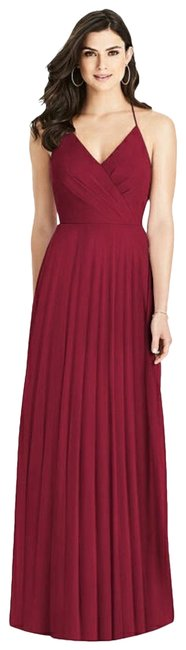 Item - Burgundy 3021 Chiffon Ruffle A-line Bridesmaid Gown Long Formal Dress Size 12 (L)