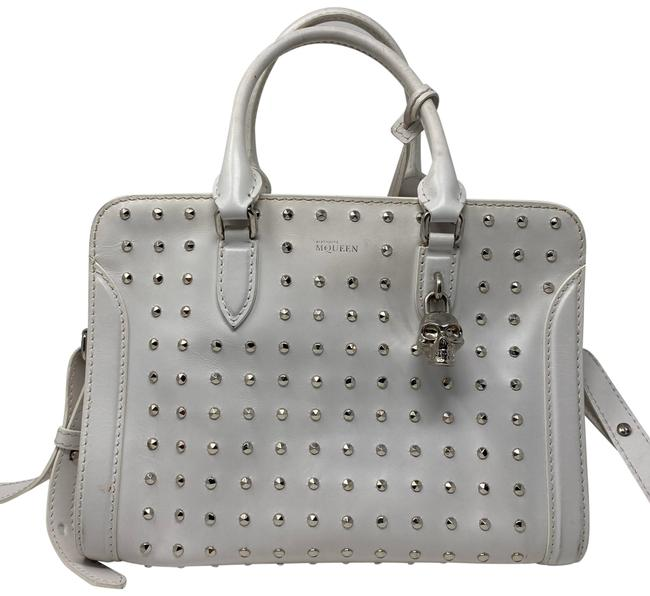 Item - Studded White Leather Baguette
