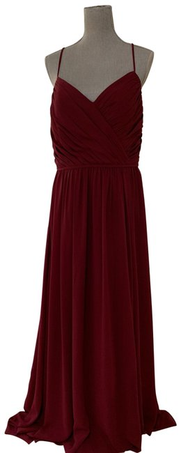 Item - Burgundy 5806 Chiffon V-neck Bridesmaid Gown Long Formal Dress Size 12 (L)