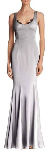 Item - Grey Satin Lace Long Formal Dress Size 6 (S)