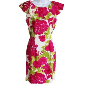 Sara Campbell Sheath Ruffle Floral Spring Cotton Dress