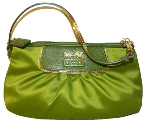Coach Limited Edition New Evening Luxury Wristlet in Peridot Green/Gold