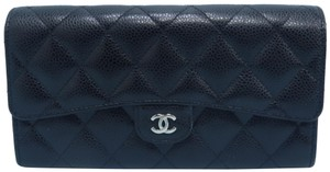 Chanel Chanel Black Caviar Quilted Cc Continental Wallet
