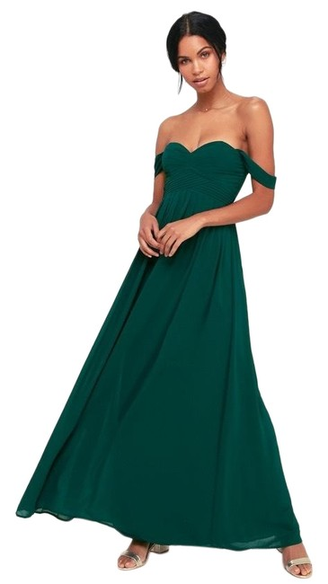 Item - Emerald Green Harmonious Chiffon Off The Shoulder Bridesmaid Gown Long Formal Dress Size 8 (M)