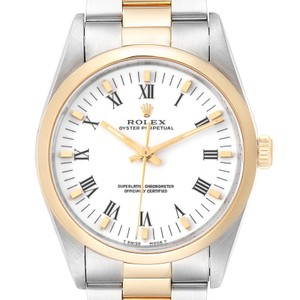 Rolex Rolex Oyster Perpetual White Dial Steel Yellow Gold Mens Watch 14203