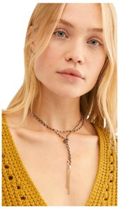 Free People C'est La Vie Layered Silver Choker Lariat Beaded Necklace