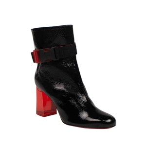 Christian Louboutin Leather Chunky Ankle Patent Leather Black Boots