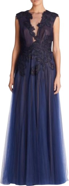 Tadashi Shoji Navy & Nude Lace Embroidered Chiffon Long Formal Dress Size 14 (L) Tadashi Shoji Navy & Nude Lace Embroidered Chiffon Long Formal Dress Size 14 (L) Image 1