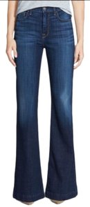 7 For All Mankind Dark Wash Mid Rise Factory Fading Flare Trouser/Wide Leg Jeans-Dark Rinse