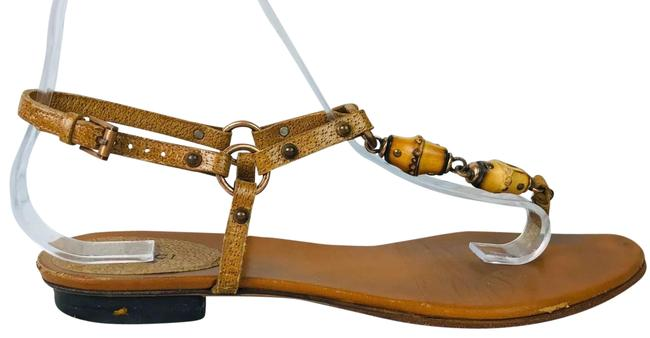 Item - Brown Leather Beaded Thong Strappy Sandals Size US 7.5 Regular (M, B)