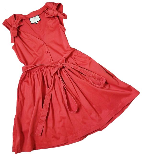 Item - Red Kelsi Cotton Bow Accent Fit and Flare Mini Short Cocktail Dress Size 10 (M)