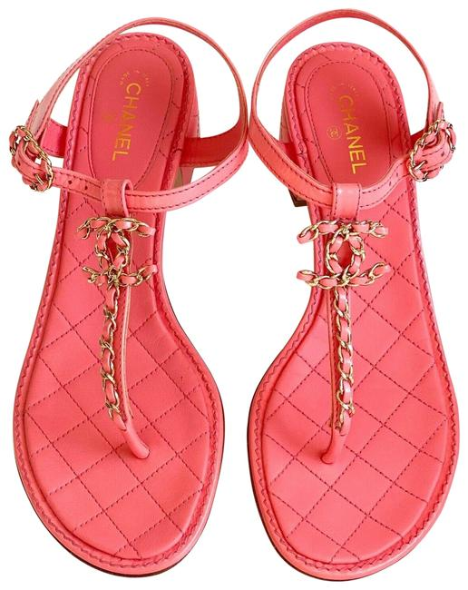 Item - Coral/Pink Light Quilted Leather Cc Logo Sandals Size EU 38.5 (Approx. US 8.5) Regular (M, B)
