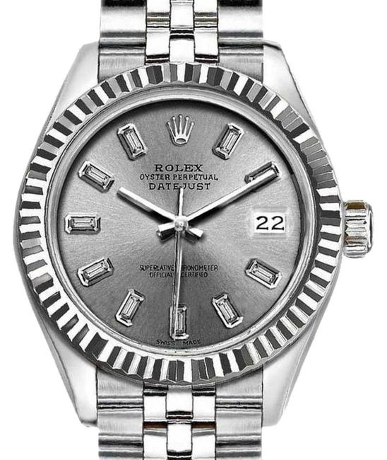 Rolex Gray Ladies 26mm Datejust with Diamond Silver Dial Watch Rolex Gray Ladies 26mm Datejust with Diamond Silver Dial Watch Image 1