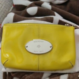 Mulberry Patent yellow Clutch
