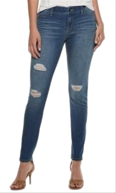 Item - Blue Medium Wash Flaunt It Seamless Distressed Stretchy Skinny Jeans Size 10 (M, 31)